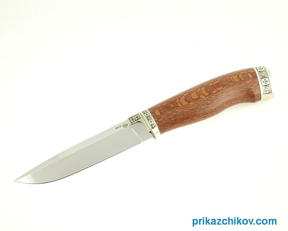 Нож Андромеда из кованой стали 95Х18 (рукоять лайсвуд, литье мельхиор) N1