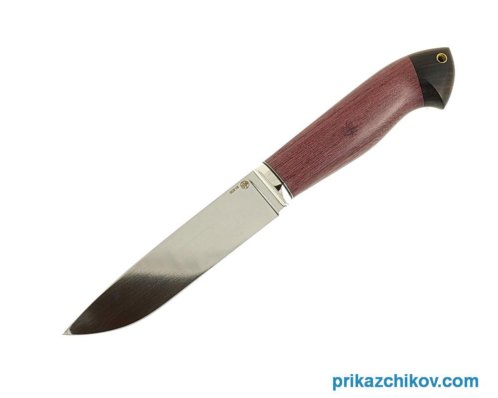 Нож из кованой стали 95Х18 Рабочий (рукоять амарант и граб, литье мельхиор) N14