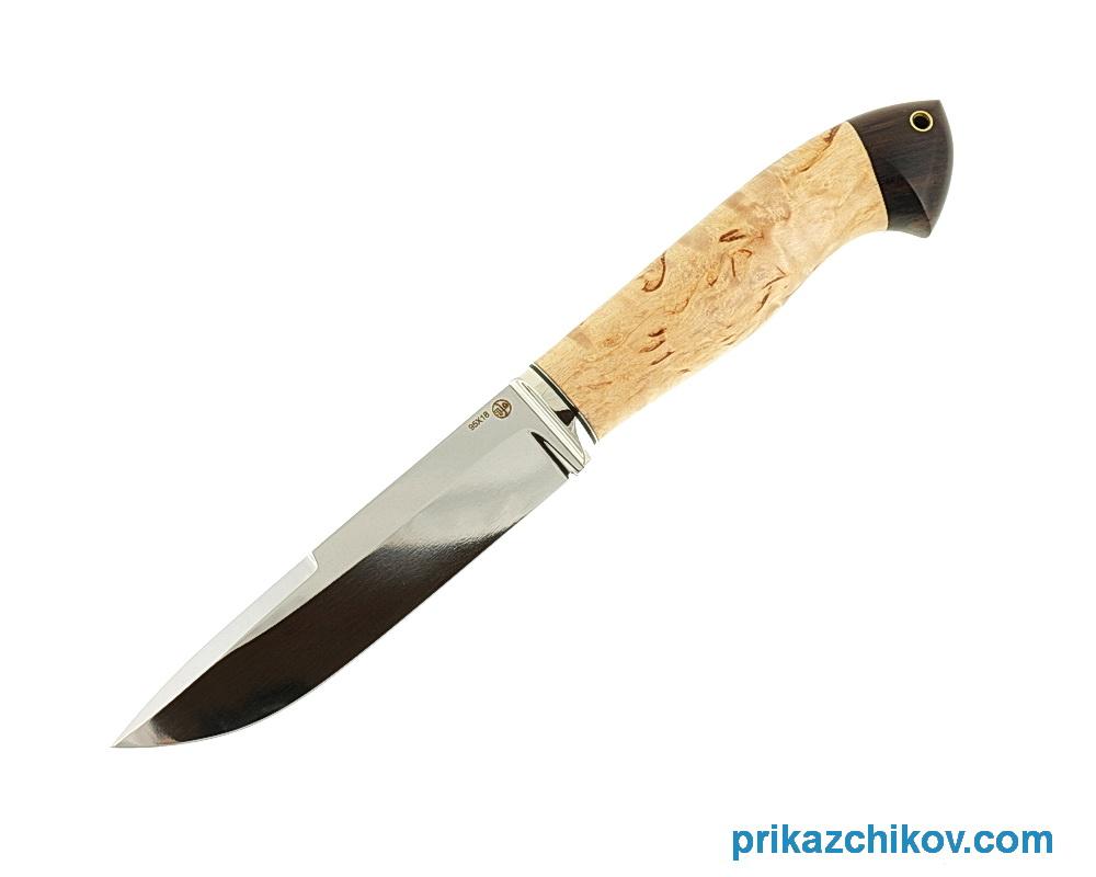 Нож из кованой стали 95Х18 Рабочий (рукоять карельская береза и граб, литье мельхиор) N24