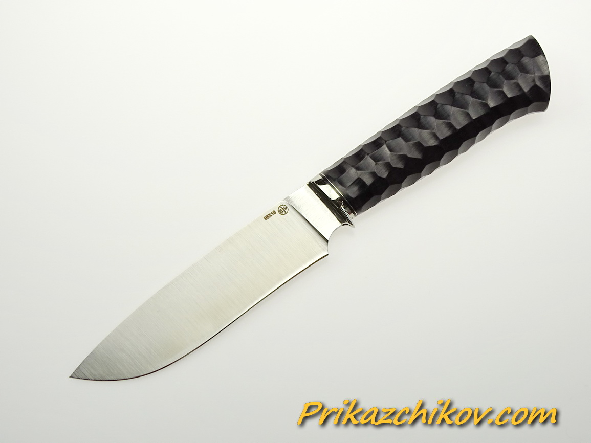 Нож из стали 95х18 (рукоять из тонированного граба, литьё из мельхиора) N 26