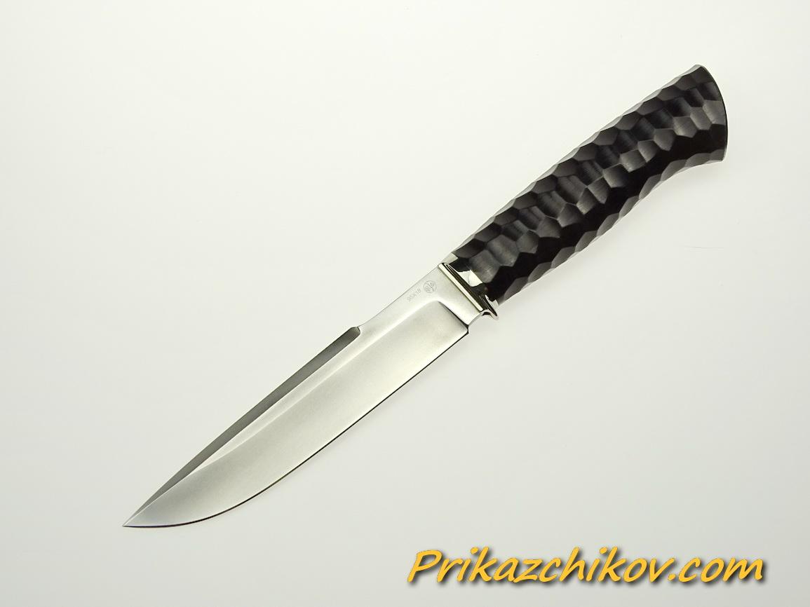 Нож из стали 95х18 (рукоять из тонированного граба, литьё из мельхиора) N 43