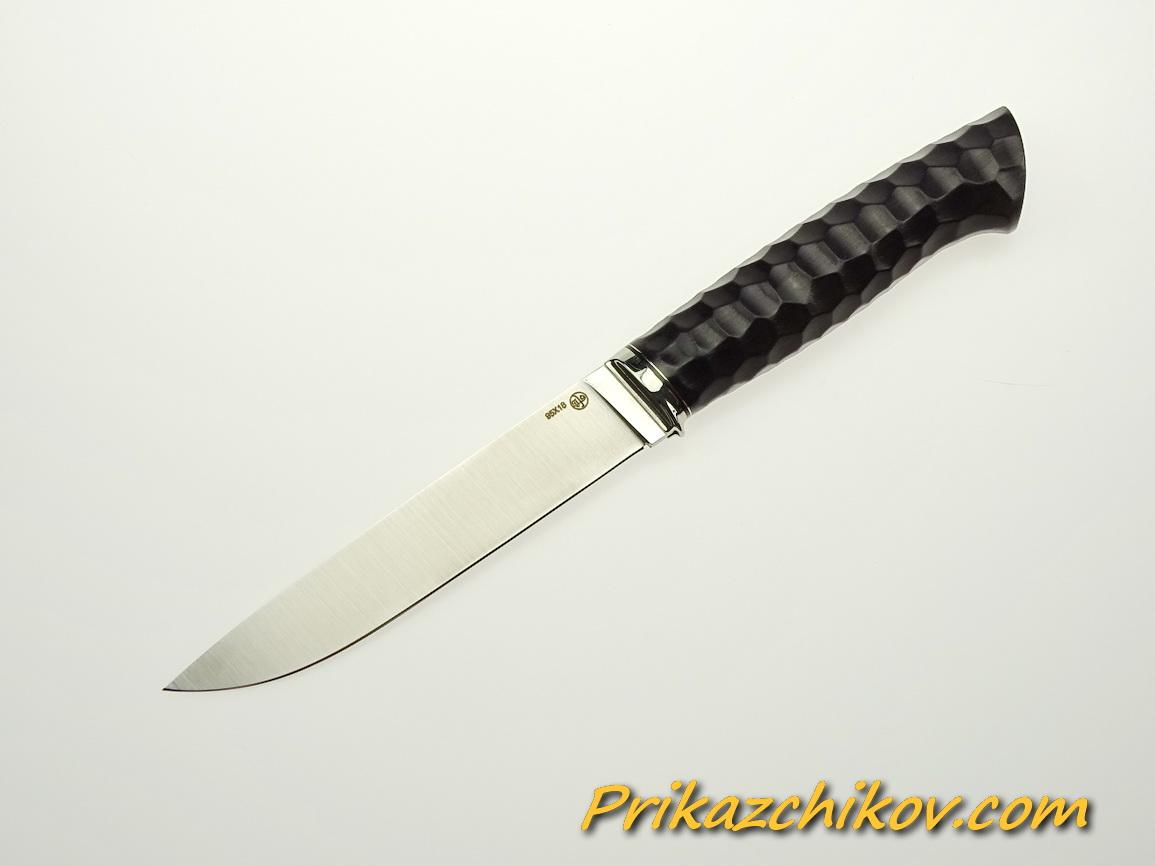 Нож из стали 95х18 (рукоять из тонированного граба, литьё из мельхиора) N 45
