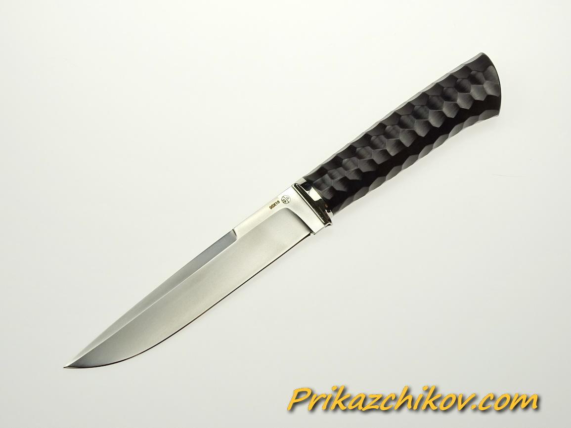 Нож из стали 95х18 (рукоять из тонированного граба, литьё из мельхиора) N 46