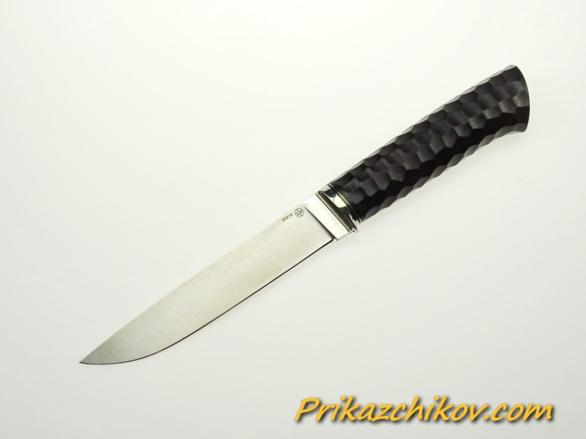 Нож из стали 95х18 (рукоять из тонированного граба, литьё из мельхиора) N 48