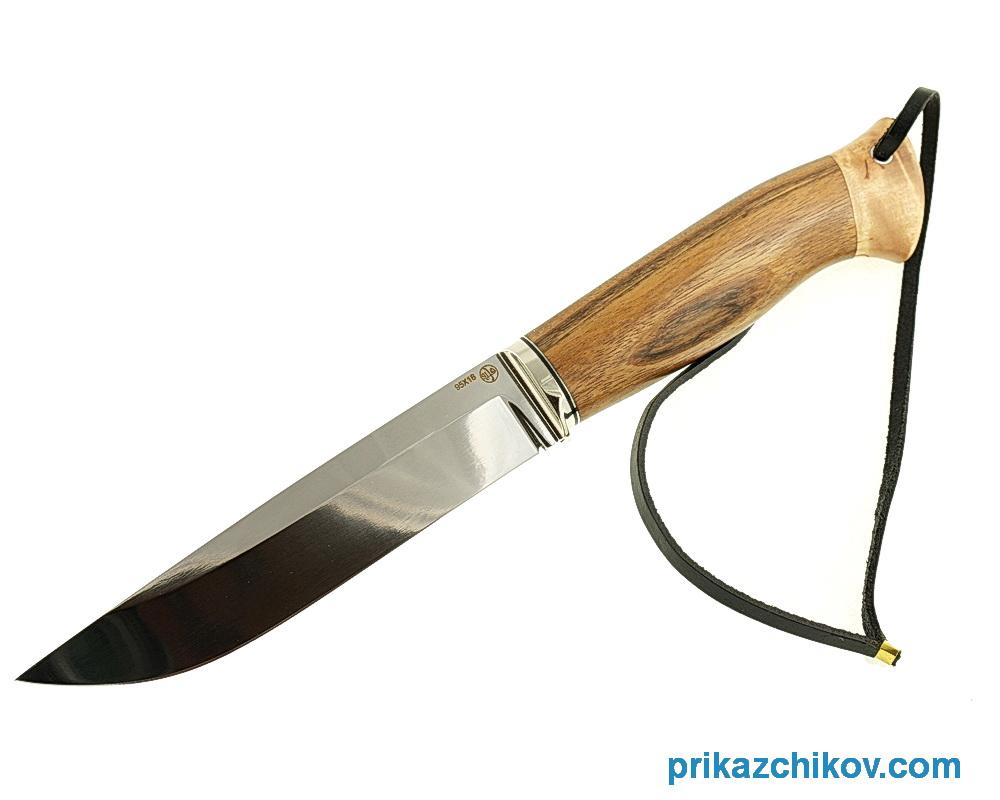 Нож из кованой стали 95Х18 Рабочий (рукоять Амазакуе и карельская береза, литье мельхиор) N5