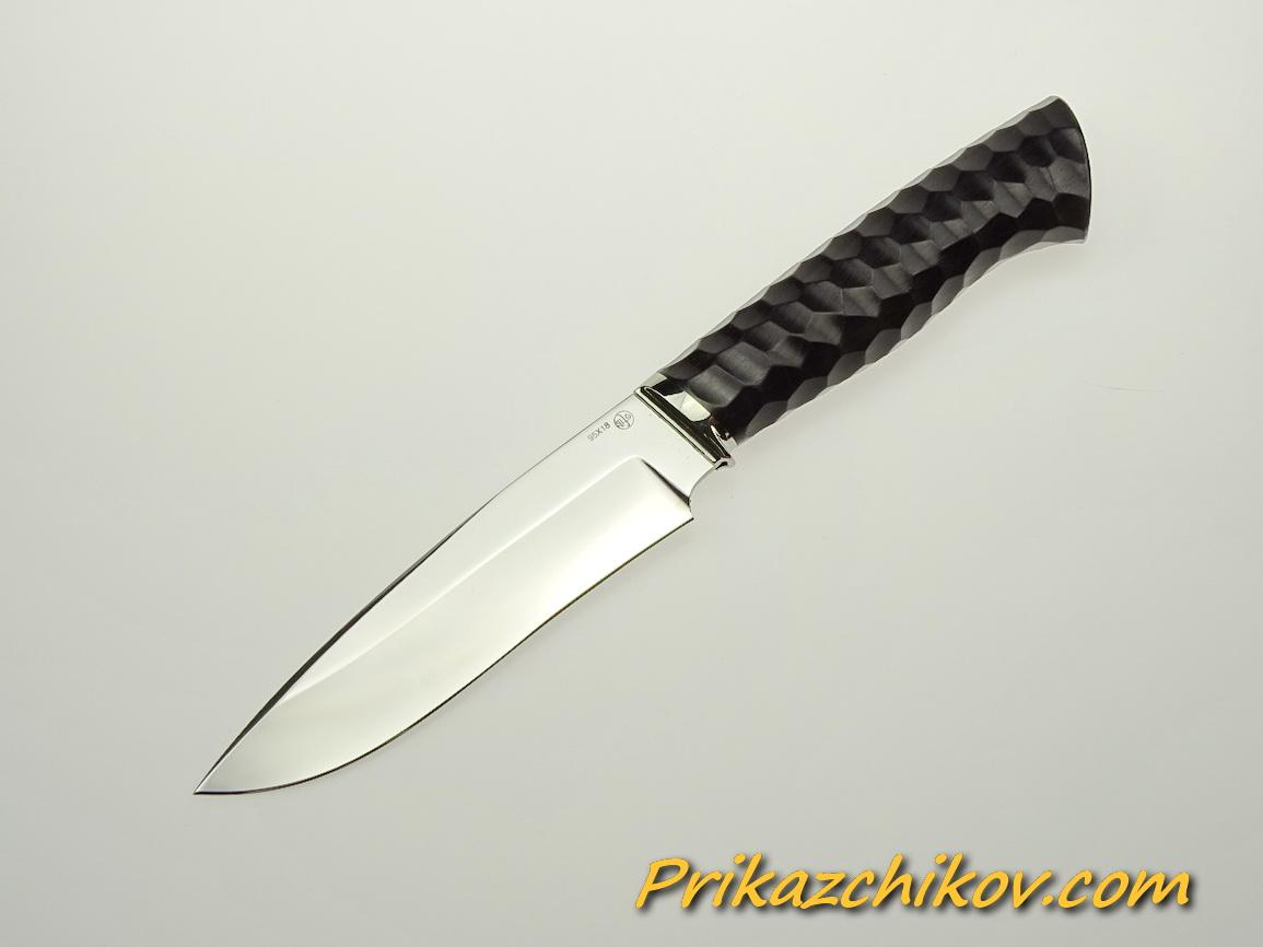Нож из стали 95х18 (рукоять из тонированного граба, литьё из мельхиора) N 50