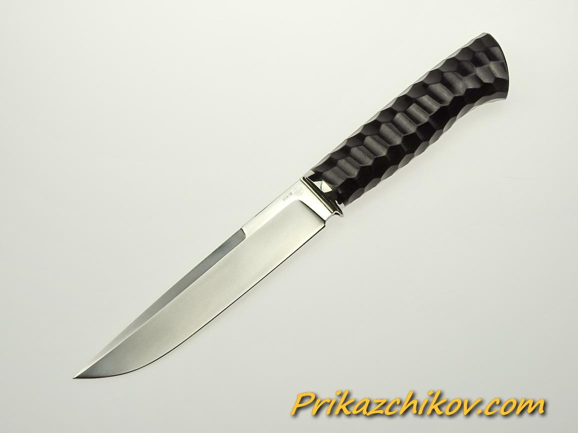 Нож из стали 95х18 (рукоять из тонированного граба, литьё из мельхиора) N 51