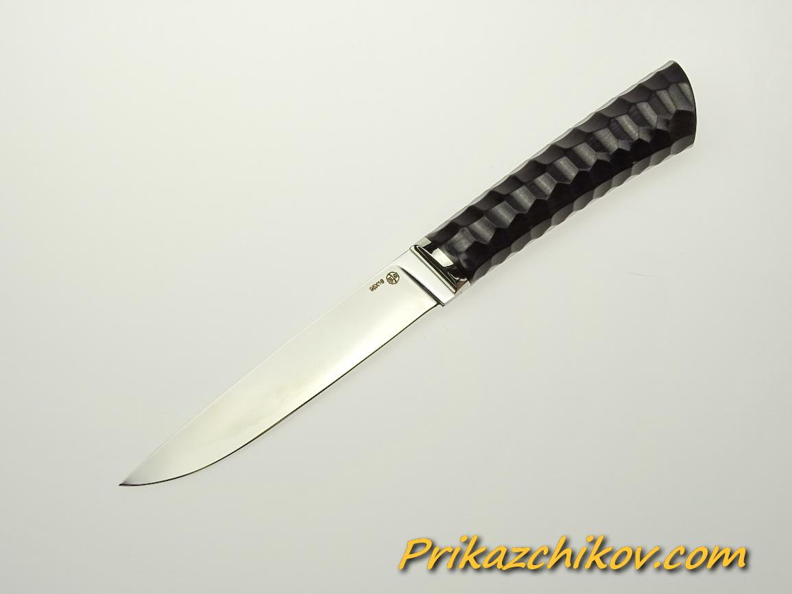 Нож из стали 95х18 (рукоять из тонированного граба, литьё из мельхиора) N 55