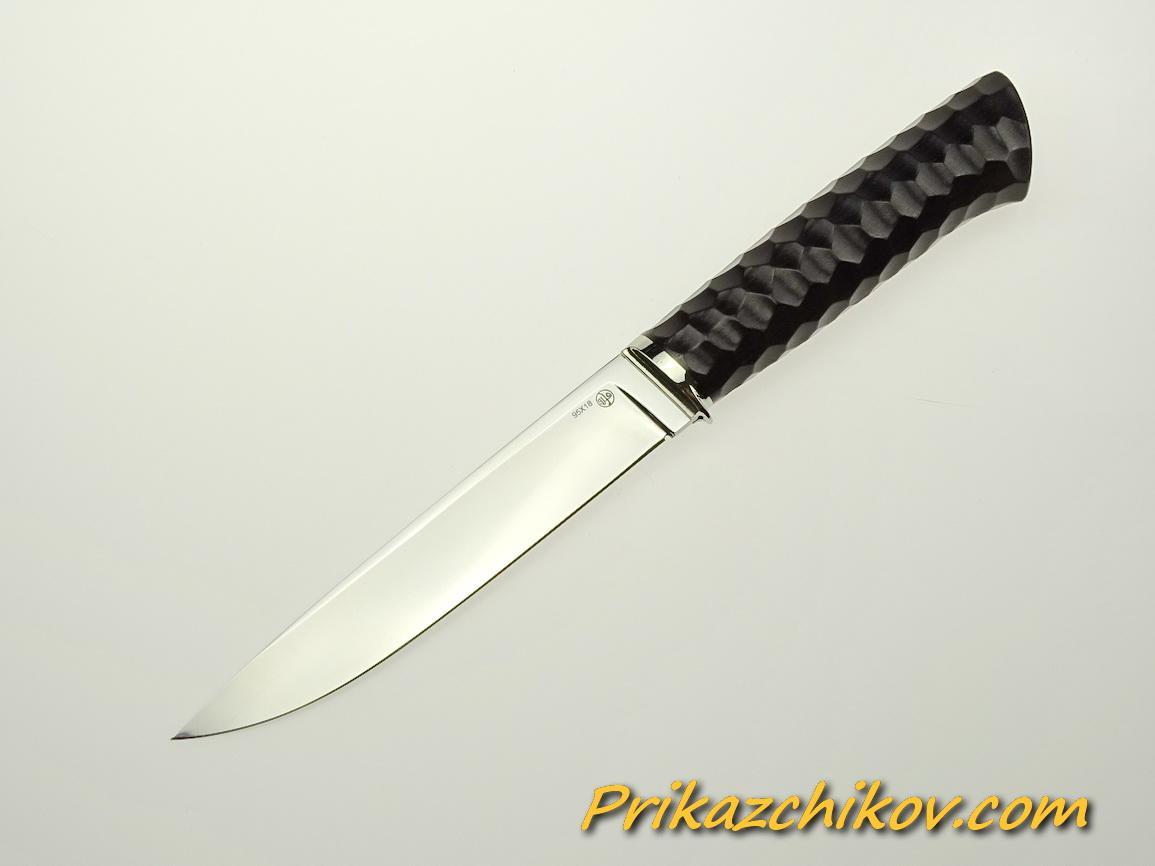 Нож из стали 95х18 (рукоять из тонированного граба, литьё из мельхиора) N 56