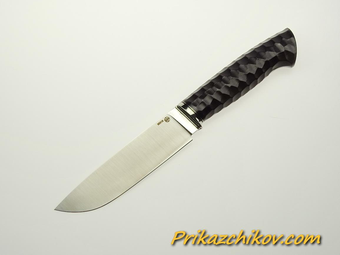 Нож из стали 95х18 (рукоять из тонированного граба, литьё из мельхиора) N 57