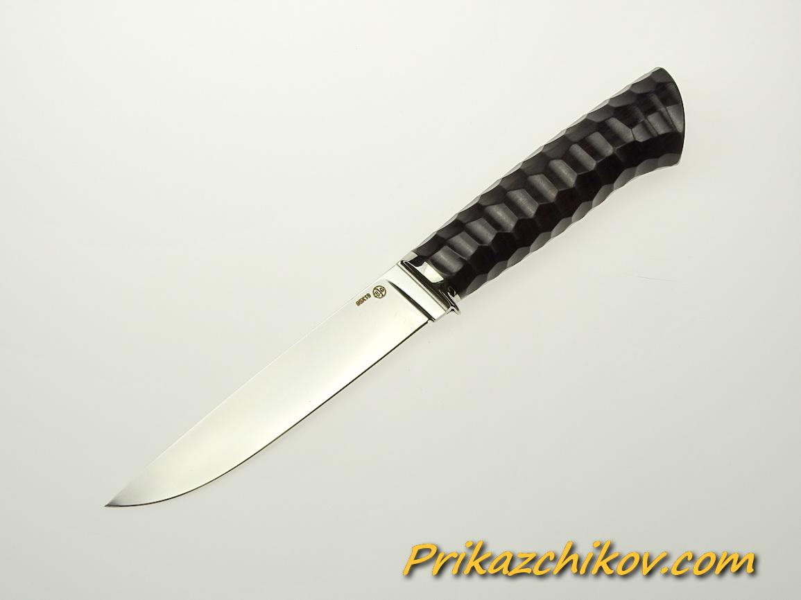 Нож из стали 95х18 (рукоять из тонированного граба, литьё из мельхиора) N 58