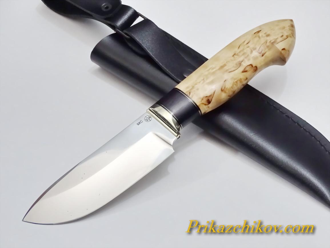 Нож из кованой стали 9ХС (рукоять карельская береза, литье мельхиор) N15