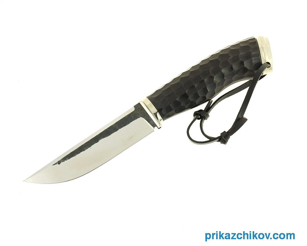 Нож Рабочий из кованой стали 9ХС (рукоять граб, литье мельхиор) N8