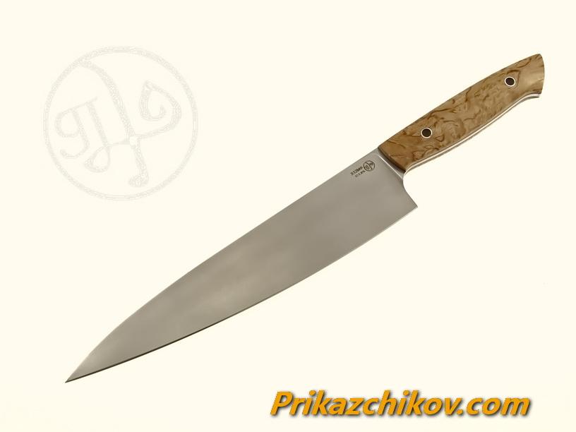 Нож(fultang) из кованой стали х12мф «Big Shef» (рукоять — стабилизированная карельская берёза)