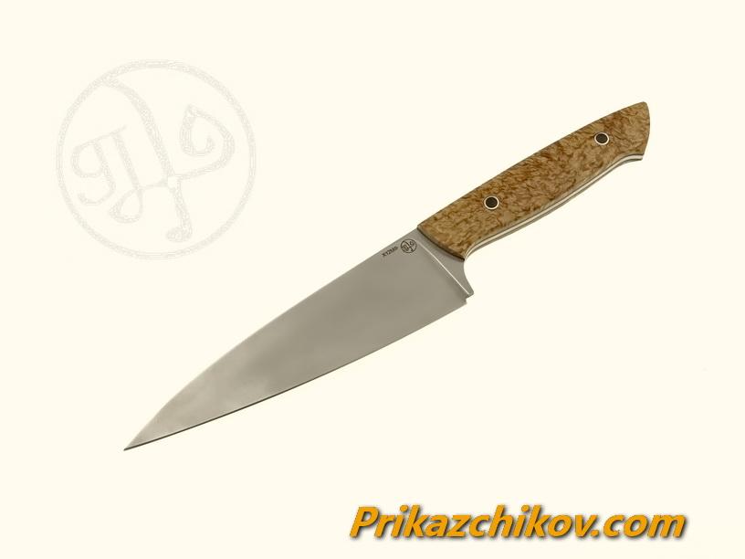 Нож(fultang) из кованой стали х12мф «Middle Shef» (рукоять — стабилизированная карельская берёза)
