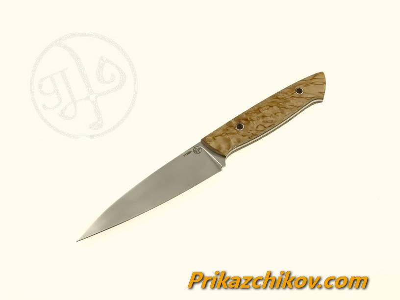 Нож(fultang) из кованой стали х12мф «Small Shef» (рукоять — стабилизированная карельская берёза)