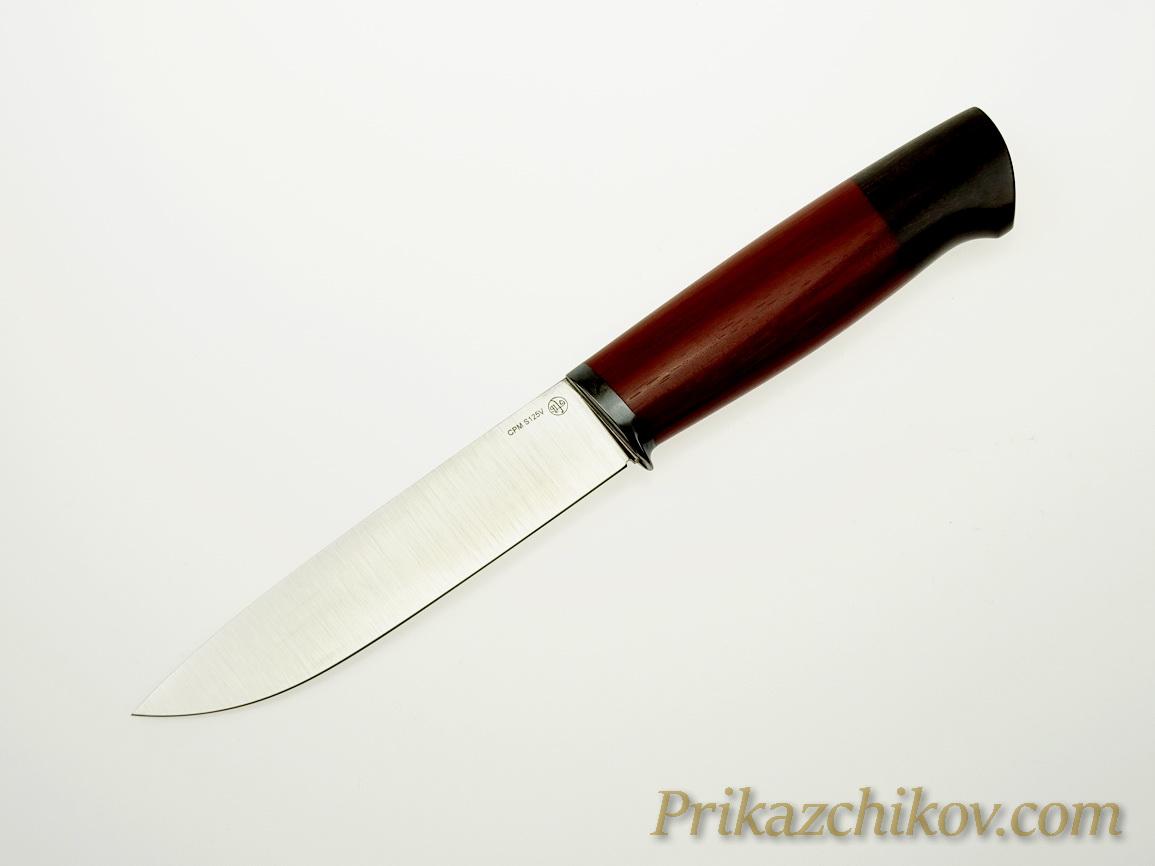 Нож  из порошковой стали Crucible Industries CPM S125V N11 (рукоять стабилизированная береза,литье мельхиор)
