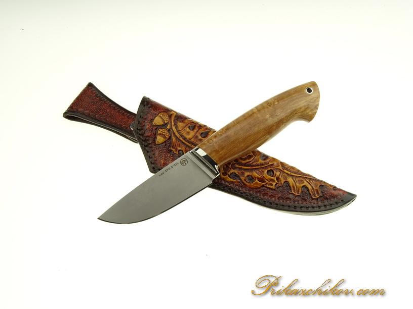 Нож  из порошковой стали Crucible Industries CPM S125V N9 (рукоять стабилизированная береза,литье мельхиор)