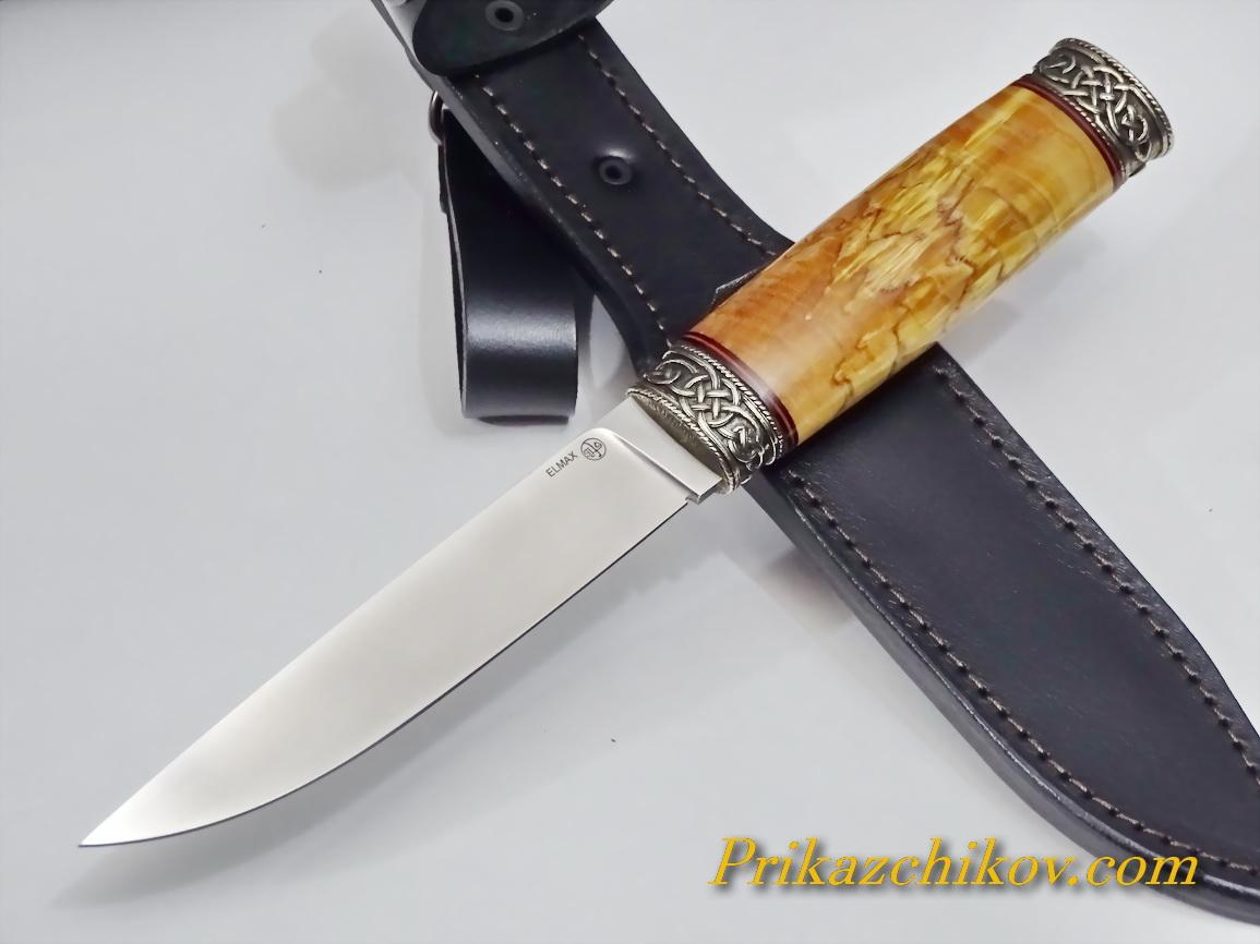 Нож из порошковой стали Elmax (рукоять из стабилизированной карельской березы) N61