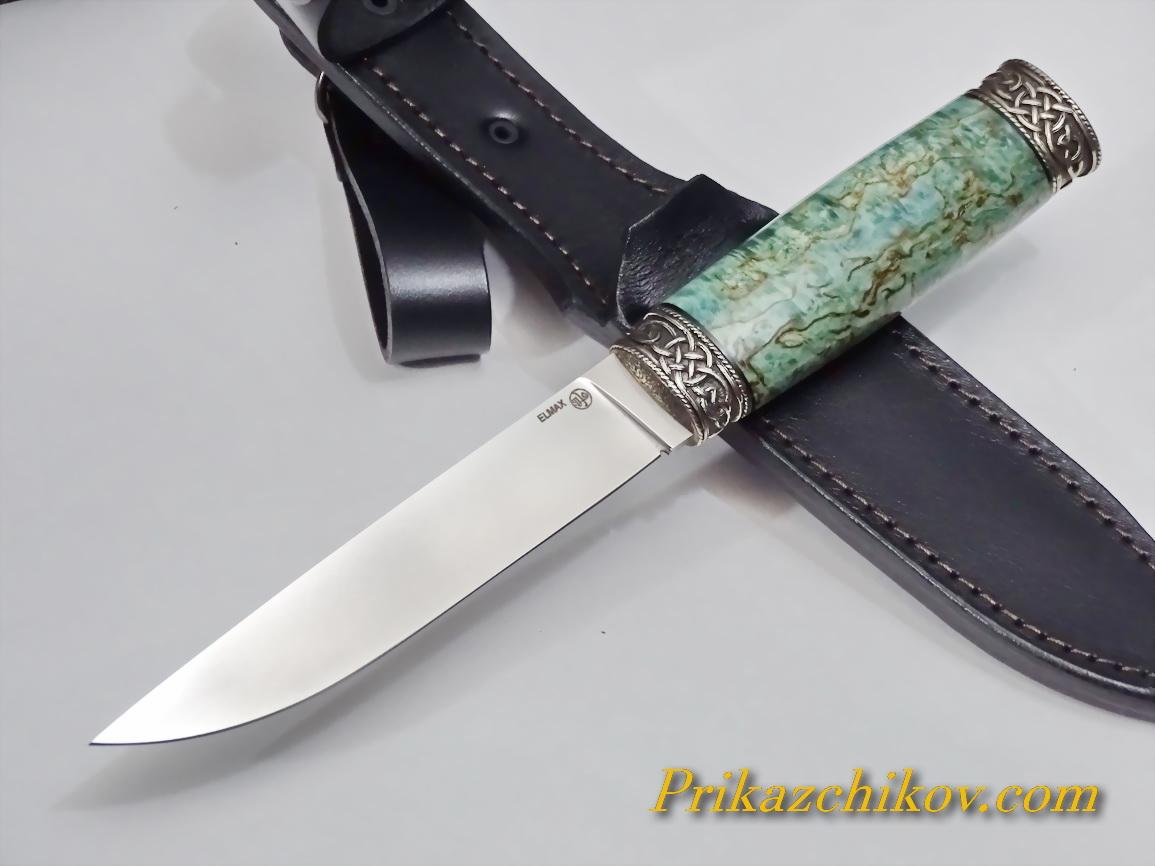 Нож из порошковой стали Elmax (рукоять из стабилизированной карельской березы) N63
