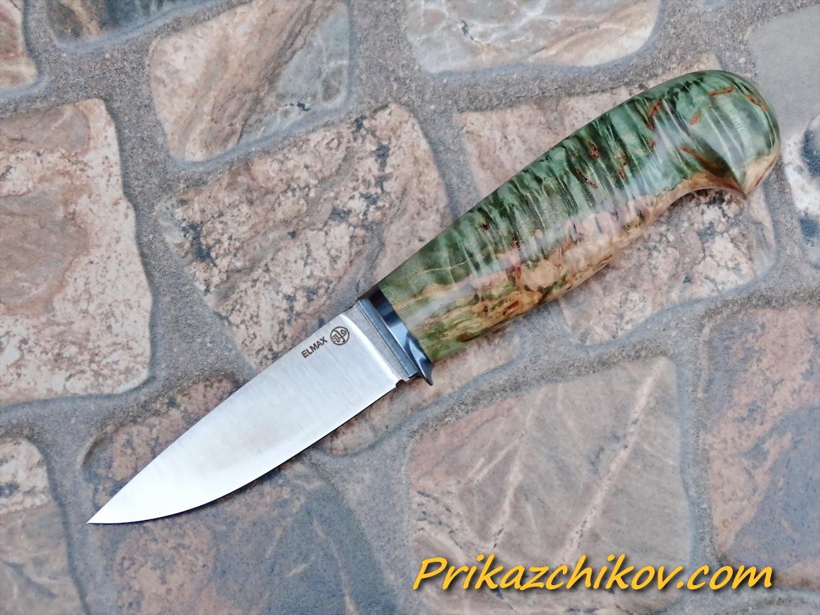 Нож из порошковой стали Elmax (рукоять из стабилизированной карельской березы) N71