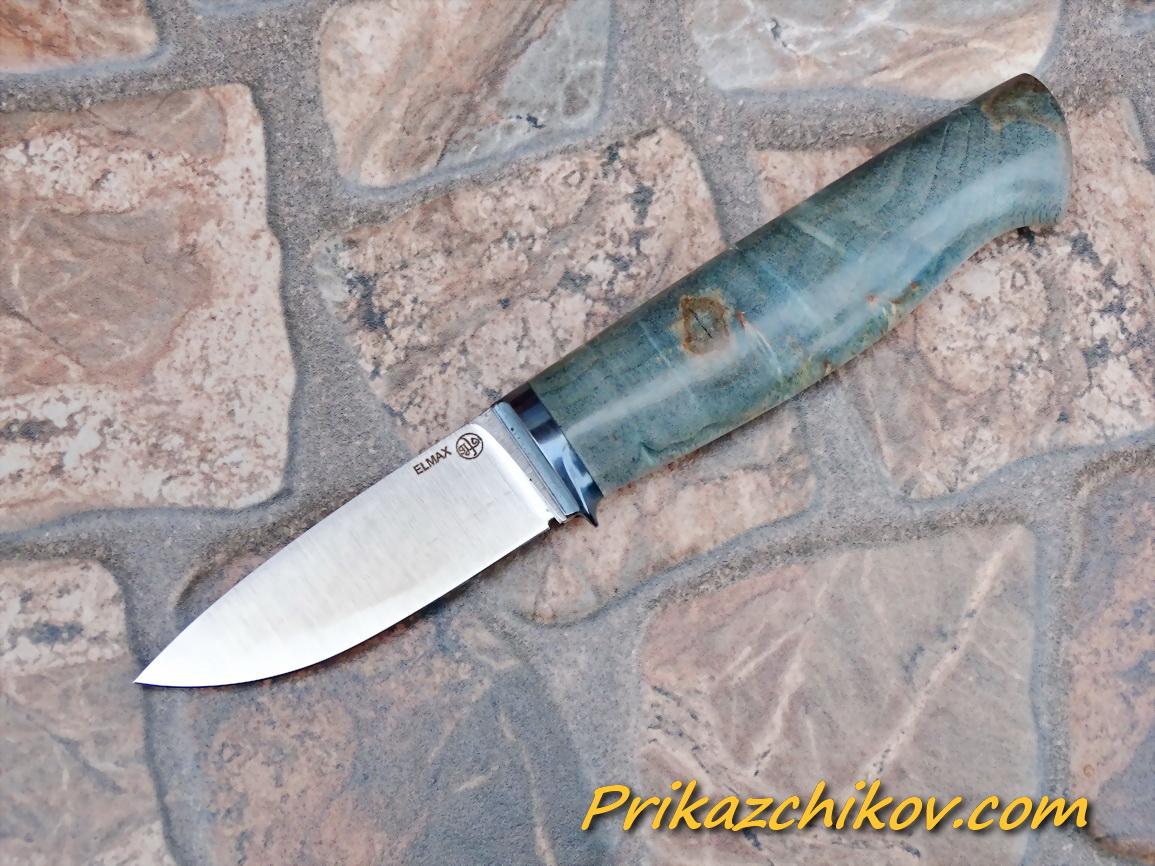 Нож из порошковой стали Elmax (рукоять из стабилизированной карельской березы) N72