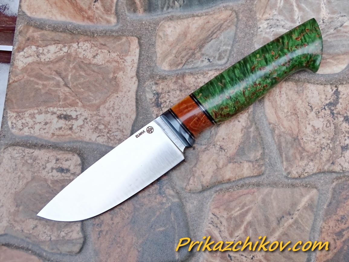 Нож из порошковой стали Elmax (рукоять из стабилизированной карельской березы) N75