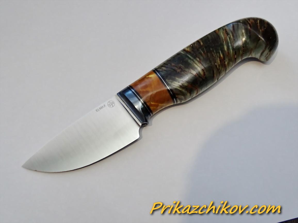 Нож из порошковой стали Elmax (рукоять из стабилизированной карельской березы) N91
