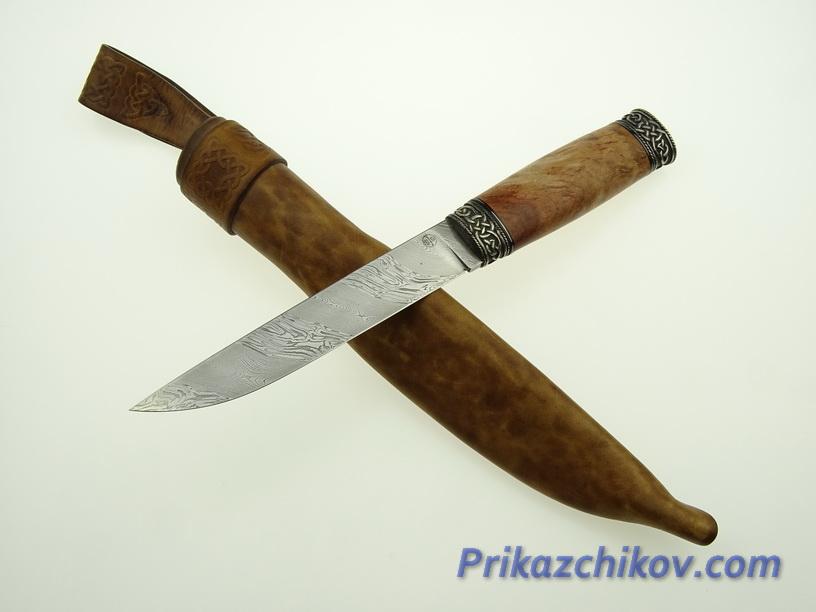Авторский нож из мозаичной дамасской стали N 4