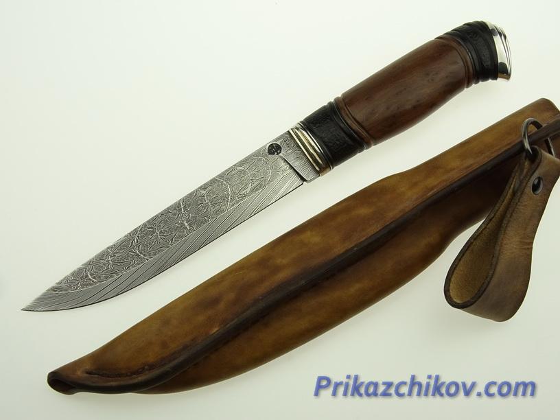 Авторский нож из мозаичной дамасской стали N 5