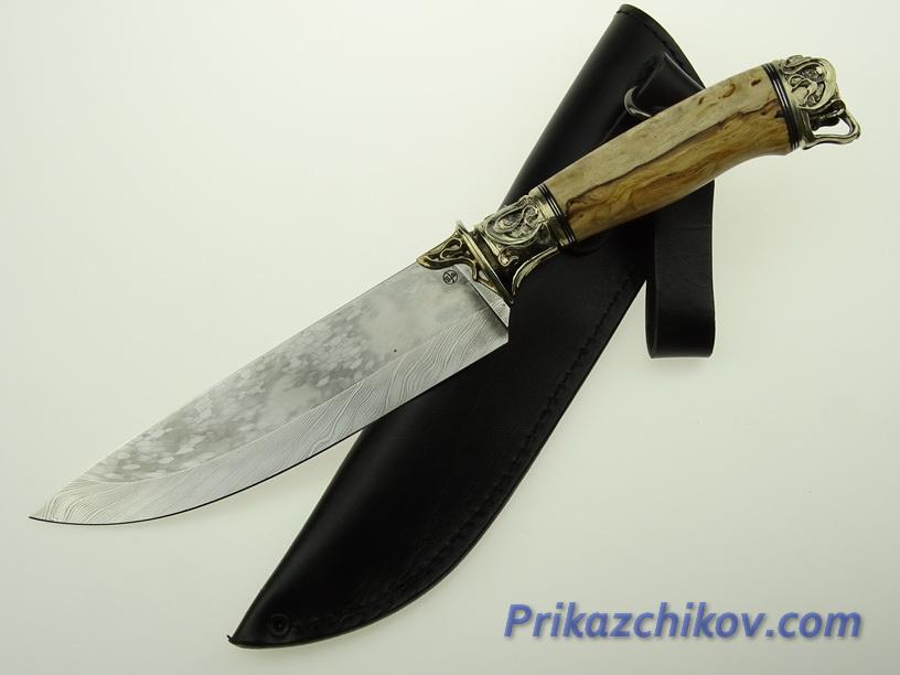 Авторский нож из мозаичной дамасской стали N 7