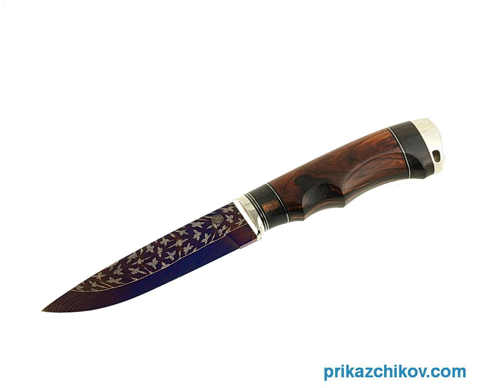 Аторский нож из мозаичной дамасской стали Классик (рукоять кокоболо, эбен, литье мельхиор)