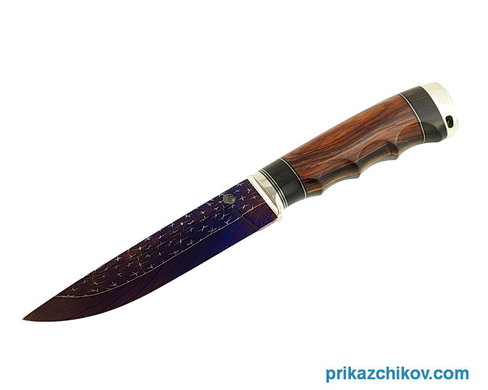 Аторский нож из мозаичной дамасской стали Классик I (рукоять кокоболо, эбен, литье мельхиор)