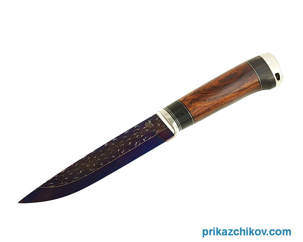 Аторский нож из мозаичной дамасской стали Классик II (рукоять кокоболо, эбен, литье мельхиор)