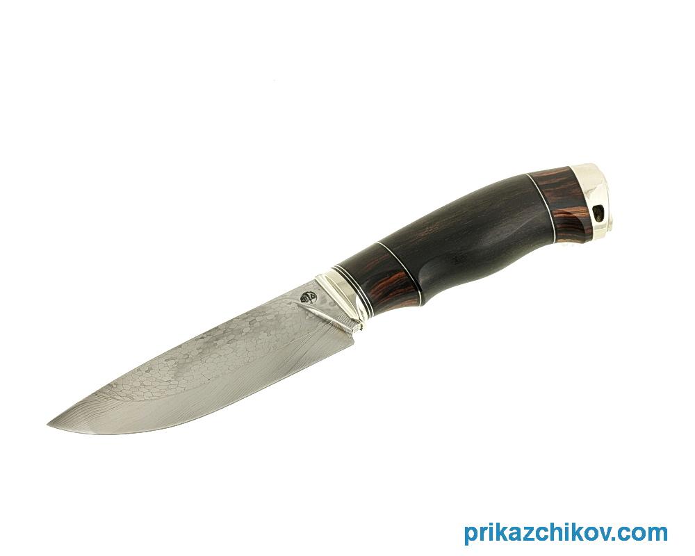 Аторский нож из мозаичной дамасской стали «Разделочный» (рукоять кокоболо, эбен, литье мельхиор)
