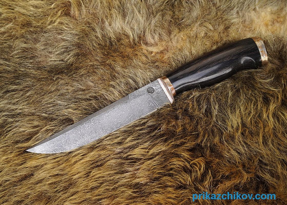 Авторский нож Охотник из тигельного коррозиестойкого булата, рукоять эбен и мокумэ-ганэ