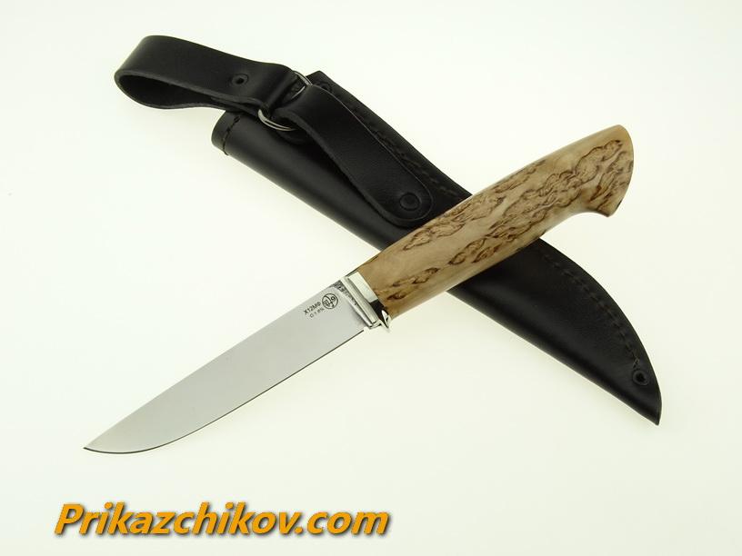 Нож из кованой стали Х12МФ Практичный (рукоять стабилизированная карельская береза, литье мельхиор) N11