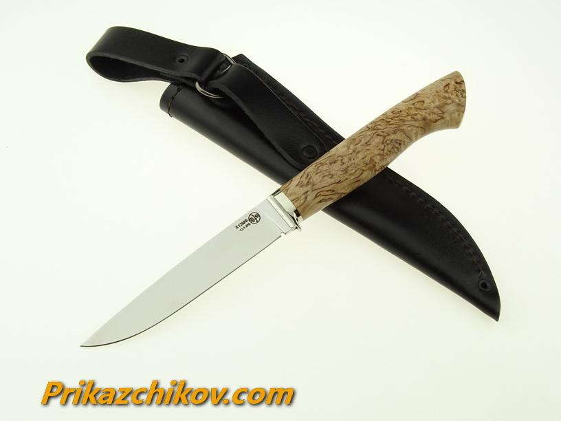 Нож из кованой стали Х12МФ Практичный (рукоять стабилизированная карельская береза, литье мельхиор) N12