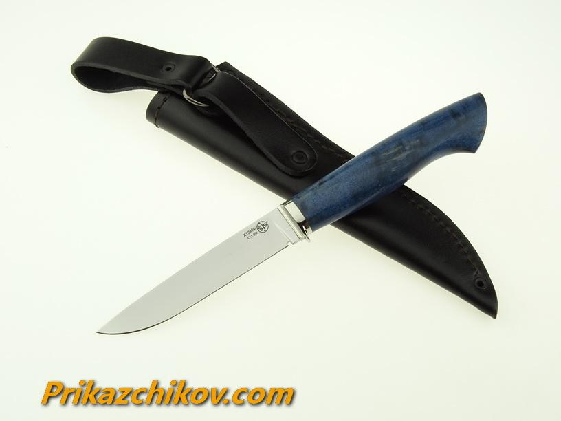 Нож из кованой стали Х12МФ Практичный (рукоять стабилизированная карельская береза, литье мельхиор) N16