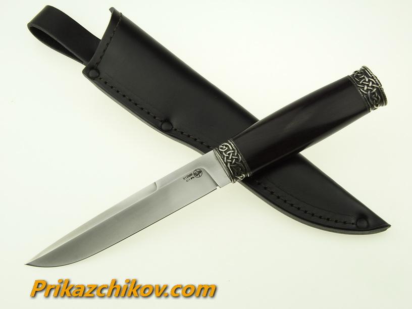Нож из кованой стали Х12МФ Практичный (рукоять граб, литье мельхиор) N19