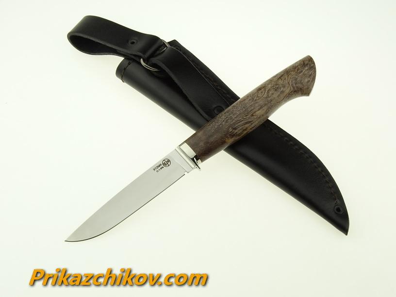 Нож из кованой стали Х12МФ Практичный (рукоять стабилизированная карельская береза, литье мельхиор) N3