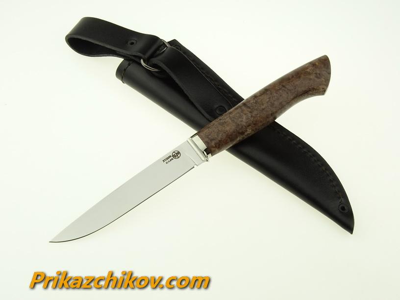 Нож из кованой стали Х12МФ Практичный (рукоять стабилизированная карельская береза, литье мельхиор) N6