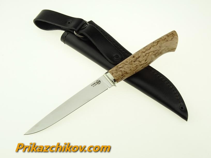 Нож из кованой стали Х12МФ Практичный (рукоять стабилизированная карельская береза, литье мельхиор) N7