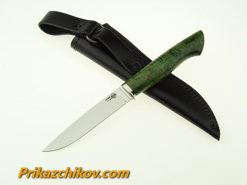 Нож из кованой стали Х12МФ Практичный (рукоять стабилизированная карельская береза, литье мельхиор) N9