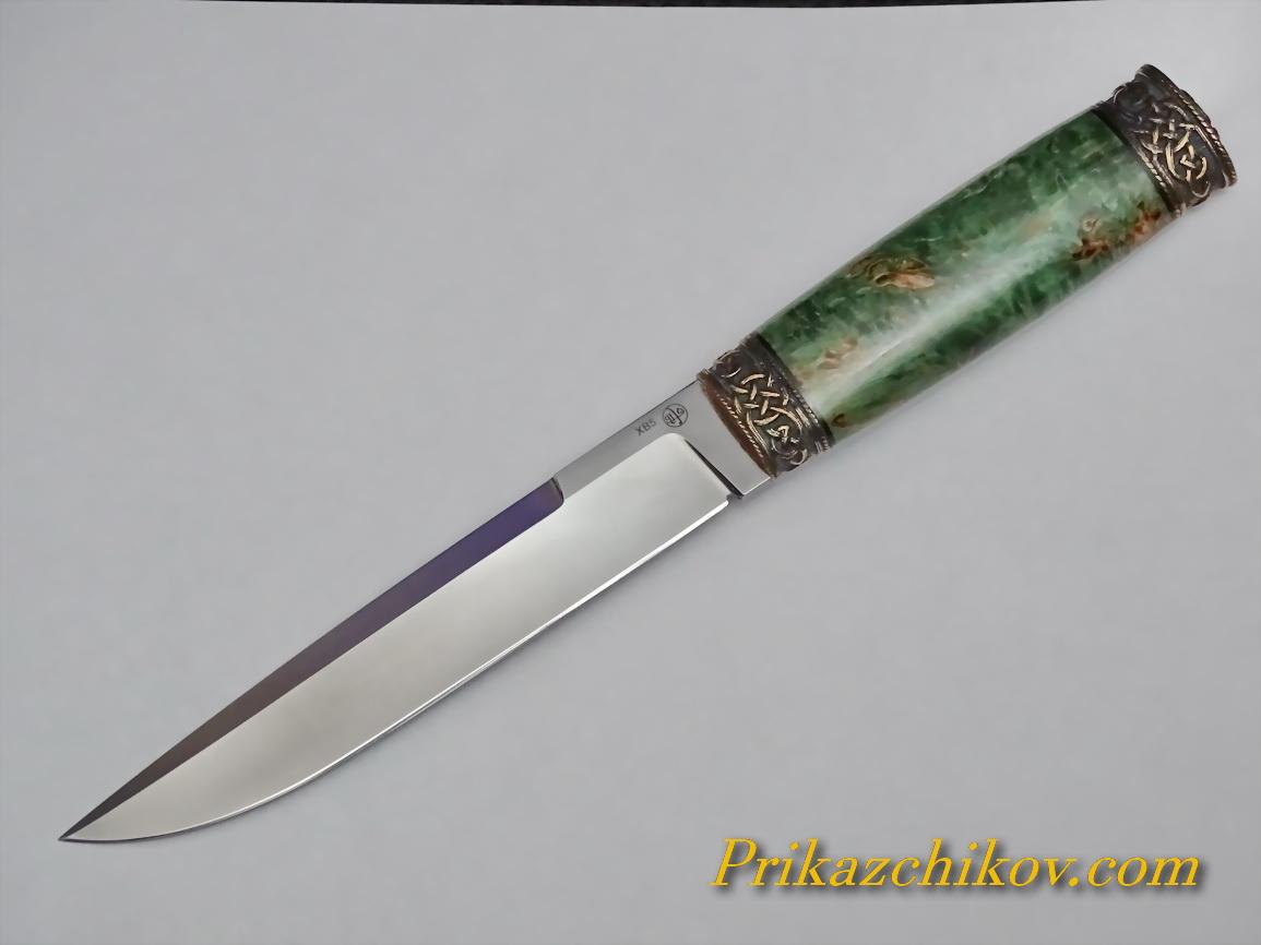 Нож из кованой стали ХВ5 (рукоять стабилизированая карельская береза, литье мельхиор) N43