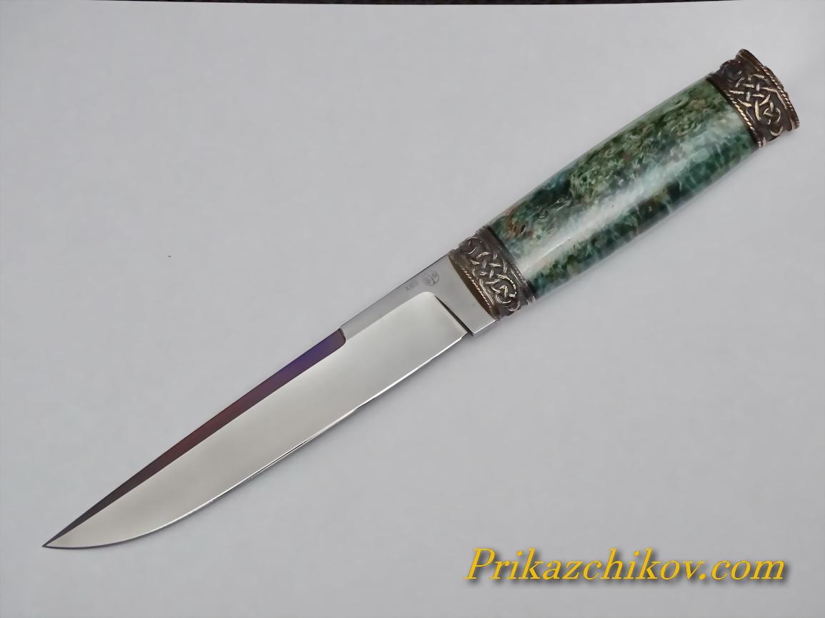 Нож из кованой стали ХВ5 (рукоять стабилизированая карельская береза, литье мельхиор) N44