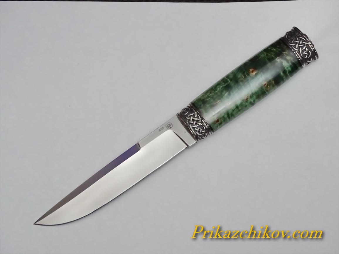 Нож из кованой стали ХВ5 (рукоять стабилизированая карельская береза, литье мельхиор) N45