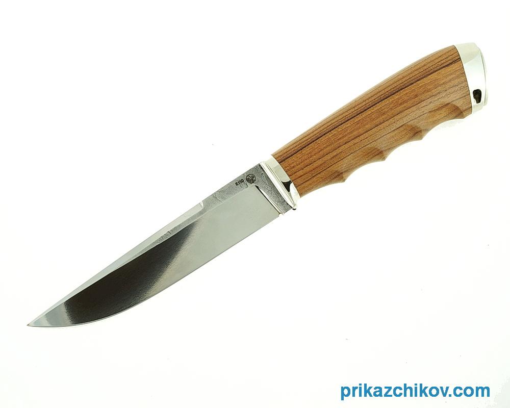 Нож Рабочий из кованой стали Bohler K110 (рукоять палисандр сантос, литье мельхиор) N23