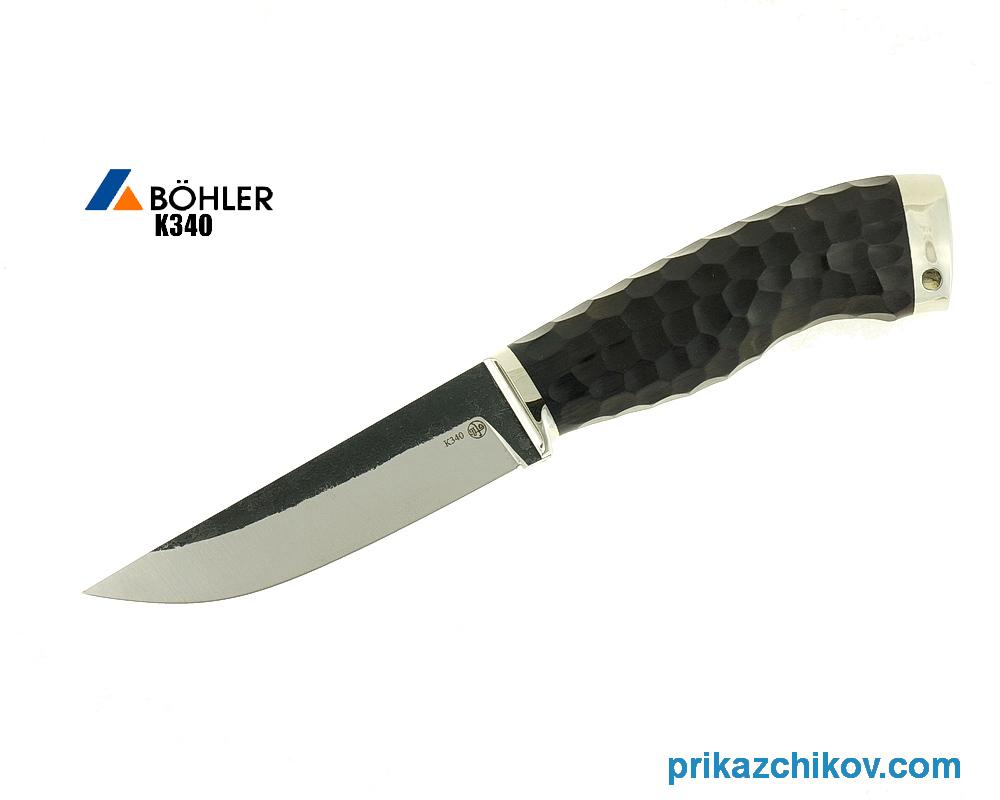 Нож Разделочный из кованой стали Bohler K340 (рукоять граб, литье мельхиор) N10