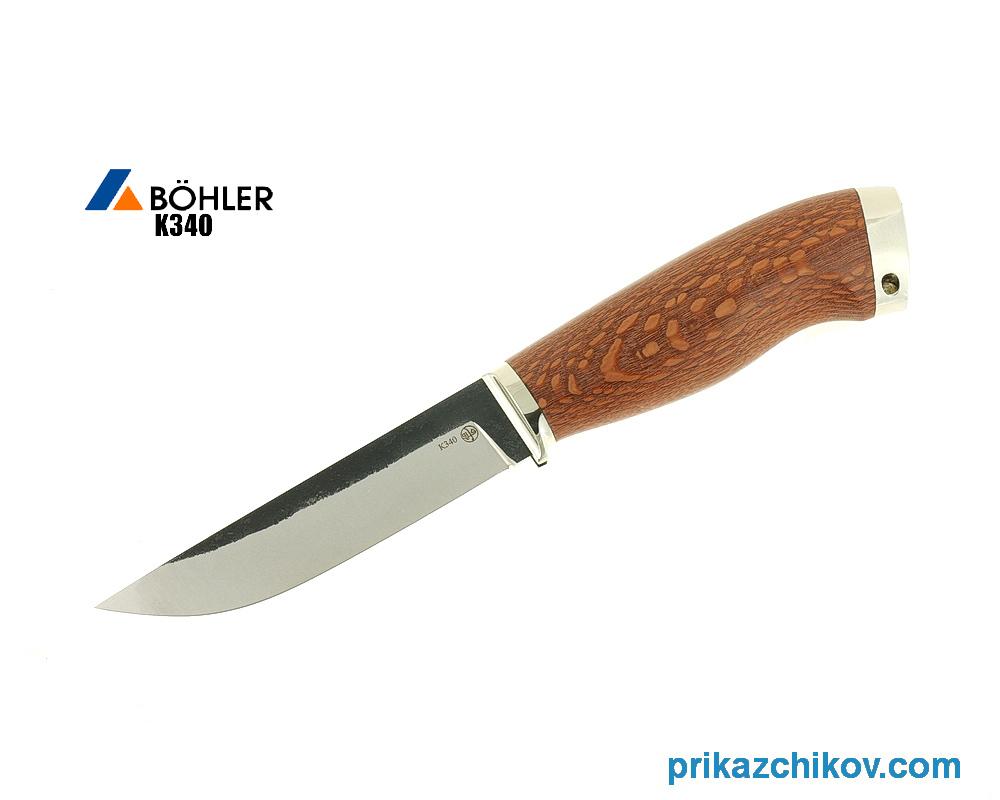 Нож Практичный из кованой стали Bohler K340 (рукоять лайсвуд, литье мельхиор) N12